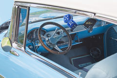 Interior of 1955 Chevrolet Bel Air. COMBINED LOCKS, WI - AUGUST 18: Interior of 1955 Chevrolet Bel Air Aqua Blue & White car at the 2nd Annual Horizon of Hope Stock Photography