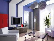 Interior 22. Modern, interior, house, dwelling, design, technology, 3d Stock Images