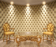 Interior. Luxurious interior with leather walls and classical furniture of gold Royalty Free Stock Photography