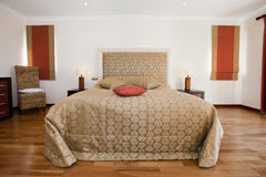 Interior. A modern and well decorated bedroom Stock Photography