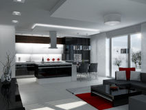 Interior. Modern interior design kitchen with living room stock illustration