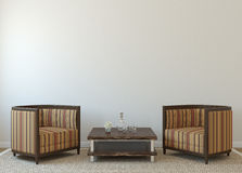 Interior. Modern interior with two armchairs near empty white wall. 3d render Royalty Free Stock Image