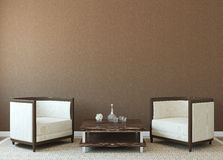 Interior. Modern interior with two armchairs near empty brown wall. 3d render Royalty Free Stock Photos