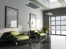 Interior 3D rendering. Office interior with two green armchairs 3D rendering stock illustration