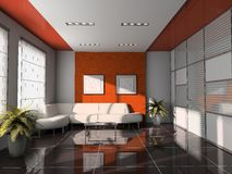 Interior 3D rendering. Office interior with orange ceiling 3D rendering royalty free stock images