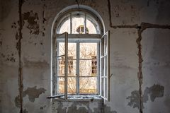 Interior abandonado de la casa Imágenes de archivo libres de regalías