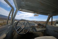 Interior of an abandoned American truck Royalty Free Stock Photo