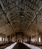 Interior of abandoned barn with beautiful wooden Stock Image