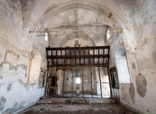 Interior of an abandoned Christian Church Royalty Free Stock Photo