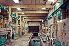 Interior of abandoned factory Royalty Free Stock Photo
