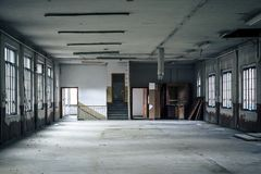 Interior of an abandoned factory Royalty Free Stock Image