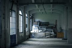 Interior of an abandoned factory Stock Image