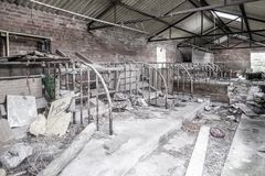 Interior ruins of rural outbuilding. Royalty Free Stock Images