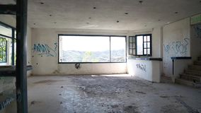 Interior of an abandoned hotel stock video