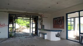 Interior of an abandoned hotel stock footage