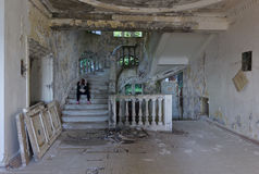 Interior of an abandoned hotel in Abkhazia Royalty Free Stock Photography