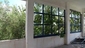 Interior of abandoned hotel. In Nea Skioni, Kassandra peninsula, Chalkidiki, Greece stock footage