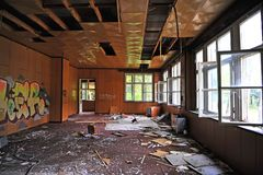 Interior of abandoned house in Korytnica Kupele, Slovakia. KORYTNICA, SLOVAKIA - SEPTEMBER 20: Interior of abandoned house in Korytnica Kupele, Slovakia on royalty free stock images