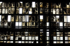 Interior of abandoned industrial hall royalty free stock images