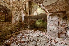 The interior of an abandoned pal. Ruined the interior of an abandoned palace in Poland Stock Photo