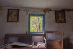 Interior of abandoned and ruined house Royalty Free Stock Photo