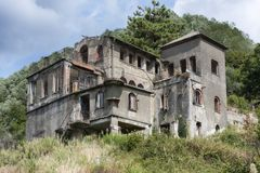 Spooky interior of abandoned ruined house royalty free stock photo