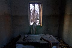 Interior of an abandoned shed. In winter Royalty Free Stock Photography