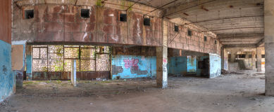 Interior of abandoned shopping center, HDR Royalty Free Stock Image