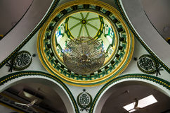 Interior of Abdul Gaffoor Mosque. A mosque in Singapore constructed in year 1907. The mosque located in the area known as Little India, which was an active Stock Photography