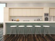 Interior abierto moderno de la cocina del apartamento del plan Imágenes de archivo libres de regalías
