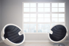 Interior with abstract armchairs. Interior with two abstract armchairs and city view. 3D Rendering Stock Images