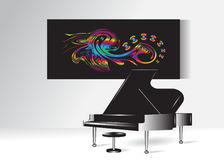 Interior. Abstract picture with butterflies and a piano Stock Photos