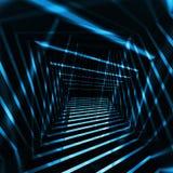 Interior abstracto de la oscuridad 3d con los haces luminosos de la noche azul stock de ilustración