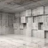 Interior abstracto del hormigón 3d con los cubos Foto de archivo