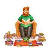 Interior acogedor de la sala de estar con el hombre joven que lee un libro en butaca cómoda Imagenes de archivo