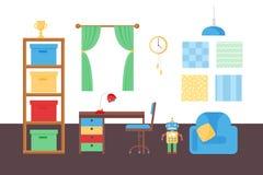 Interior acolhedor confortável do quarto das crianças da decoração da sala do bebê com vetor da mobília e dos brinquedos ilustração royalty free