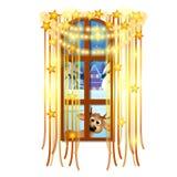 Interior acolhedor Nivelando a vista da janela da neve exterior do inverno isolada no fundo branco Cartaz do Natal da amostra ilustração royalty free