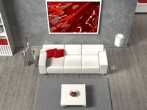 Interior aerial view. Modern fictitious living room in aerial view Royalty Free Stock Photography