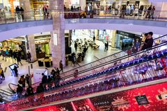 Interior of AFI Cotroceni Shopping Mall, Bucharest during holiday season. Crowded mall. BUCHAREST, ROMANIA - December 26 2017: Interior of AFI Cotroceni Shopping stock photos
