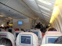 Interior of an Airbus A340-500 of Emirates Airlines Royalty Free Stock Photo