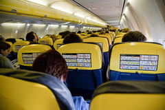 Interior  airplane. Interior of a ryanair 's airplane Stock Image