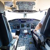 Interior of airplane cockpit. Stock Images
