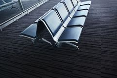 Interior of the airport. Bench in the ukrainian airport. Interior of the airport Royalty Free Stock Photos