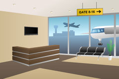 Interior airport inside reception beige brown illustration. Vector Stock Images