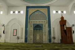 Interior of Al-Bukhari Mosque in Kedah Royalty Free Stock Images