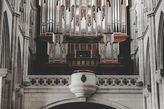 Interior of Almudena Cathedral, catholic church, in Madrid. Pipe organ inside the Almudena cathedral, a catholic church in Madrid Stock Photo