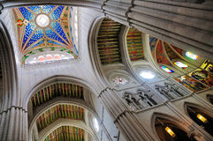Interior of Almudena Cathedral, Madrid stock photography