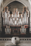 Interior of Almudena Cathedral in Madrid. Pipe organ inside the Almudena cathedral, a catholic church in Madrid Stock Photo