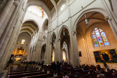 Interior of Almudena Cathedral in Madrid Royalty Free Stock Image