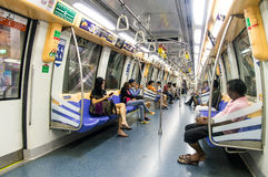 Interior of Alstom Metropolis C751 subway carriage in Singapore. 2013 Royalty Free Stock Images